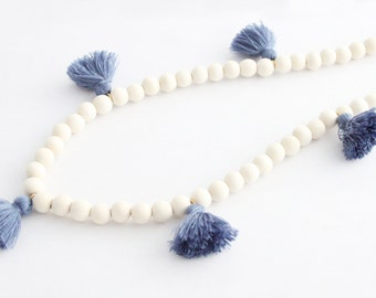 Tassel Necklace, Slate Blue and White Beaded Tassel Necklace, Blue Necklace, Blue Tassel, Wood Bead Tassel Necklace, Tassel Jewelry