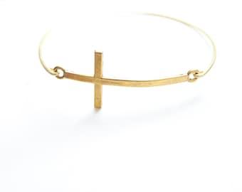 Cross Bracelet, Cross Bangle, Cross Jewelry, Gold or Silver Sideways Brass Cross, Charm Bracelet, Stackable Bangle