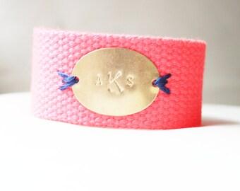 Personalized Bracelet, Monogram Bracelet, Coral Pink Stitched Monogram Oval Cotton Canvas Bracelet, Initial Jewelry, Personalized Jewelry