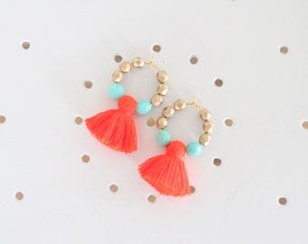 Tassel Earrings, Beaded Tassel Earrings, Tassel Jewelry, Coral, Aqua, and Gold