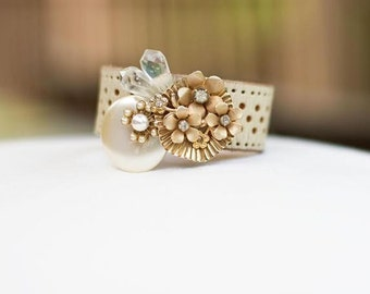 Vintage Gold, Pearl, and Rhinestone White Leather Brooch Bracelet
