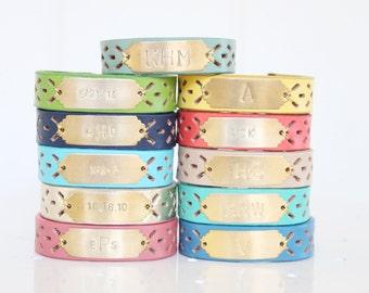 Personalized Bracelet, Monogram Bracelet, Initial Bracelet, Personalized Leather Bracelet, Name Bracelet, Custom Name Bracelet