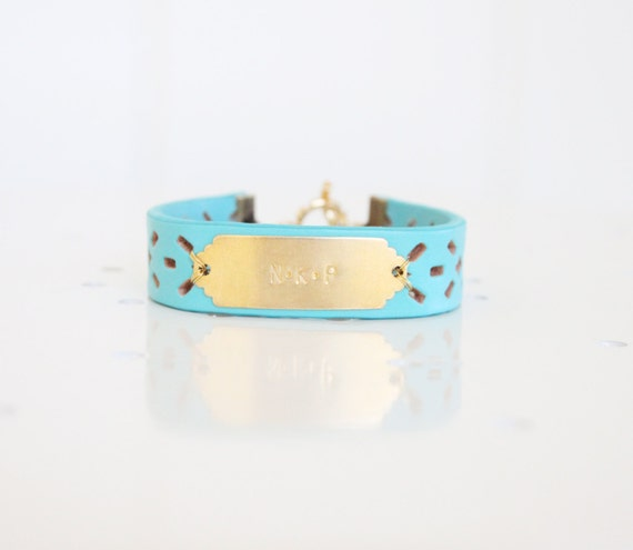 a6ded179f1f11 Personalized Bracelet, Monogram Leather Bracelet, Custom Initial Bracelet,  Turquoise Blue, Personalized Jewelry,Custom Name Bracelet