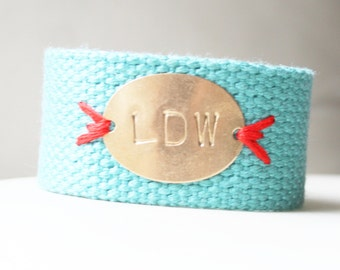 Personalized Bracelet, Initial Bracelet, Monogram Bracelet, Turquoise Stitched Monogram Oval Cotton Canvas Bracelet,  Personalized Jewelry