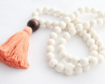 Tassel Necklace, Beaded Tassel Necklace, Boho Statement Necklace, Light Coral & White Wood Bead Tassel Necklace, Tassel Jewelry
