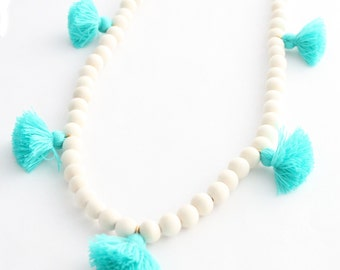 Tassel Necklace, Bright Turquoise Blue and White Beaded Tassel Necklace, Blue Tassel, Wood Bead Tassel Necklace, Tassel Jewelry