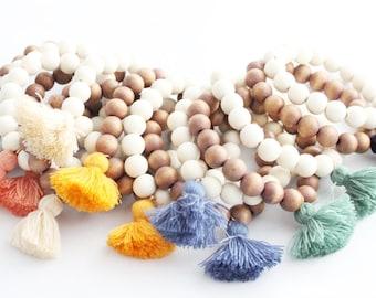 Tassel Bracelet, Beaded Tassel Bracelet, Tassel Jewelry, Wood Bead Tassel Jewelry