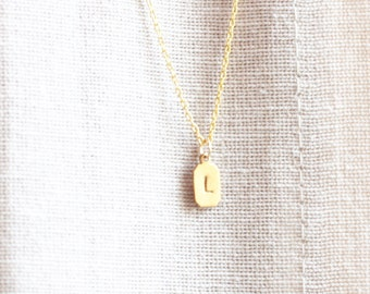 Personalized Necklace, Tiny Brass Tag, Initial Necklace, Custom Necklace, Monogram Necklace, Letter Necklace