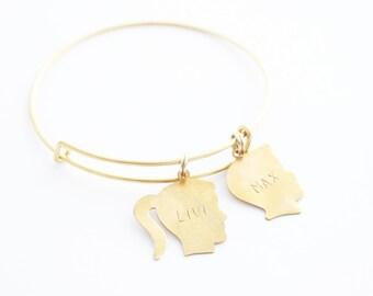 Silhouette Charm Bracelet, Personalized Bracelet, Name Bracelet, Child Silhouette, Grandmother Bracelet, New Mom Bracelet