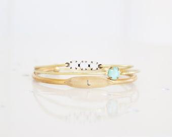 Personalized Bracelet, Brass Initial Cuff, Monogram Jewelry, Initial Cuff Set, Custom Bangle, Personalized Jewelry