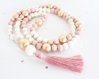 Tassel Necklace, Beaded Tassel Necklace, Statement Necklace, Blush Pink, Gold, White, and Light Wood Bead Tassel Necklace, Tassel Jewelry