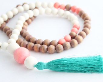 Tassel Necklace, Beaded Tassel Necklace, Statement Necklace, Turquoise Tassel Coral,  Natural, White Wood Bead Necklace, Tassel Jewelry