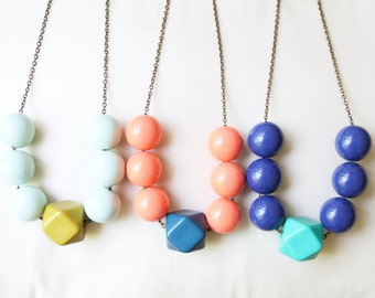 Geometric Beaded Necklace, Colorful Statement Necklace, Mixed Bead Necklace