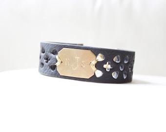 Personalized Bracelet, Monogram Leather Bracelet,  Wider Black, Initial Bracelet, Personalized Bracelet, Name Bracelet, Custom Name Bracelet