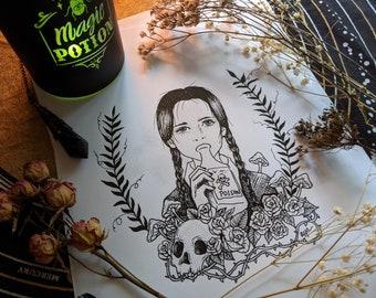 Wednesday Addams - Hand Drawn Art Print - Coloring Page - Witchy Wall Decor - Addams Family Art - Digital Download - Printable Wall Art
