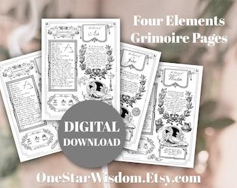 The Four Elements - Book of Shadows / Grimoire - Printable PDF