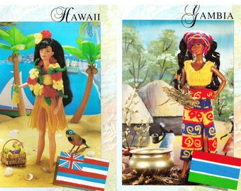 Instant Download PDF KNITTING PATTERN to make Barbie Hawiian Hula Hula Skirt Bikini & Gambian Traditional Costume 12 Inch Teen Doll Clothes
