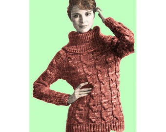 Instant Download PDF Knitting Pattern to make a Cable Womens Sweater Big Roll Neck Chunky Yarn in 3 Sizes to fit 34 to 40 inch Bust