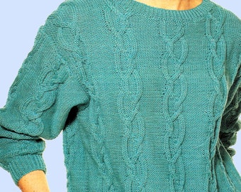 Instant Download PDF Sixties KNITTING PATTERN to make a Cable Trim Hipster Womens Sloppy Joe Sweater 8 Ply Yarn 3 Sizes 30 to 40 inch Bust