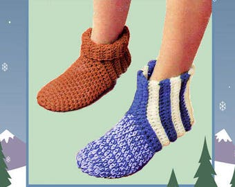 Instant Download PDF Crochet Pattern to make Comfy Chunky Warm Slippers Ankle Boots Indoor Shoes for Men Women & Children All Sizes
