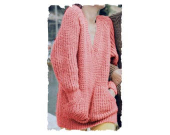 Instant Download PDF Knitting PATTERN to make an Oversize Fishermens Rib Womens  Sweater Sloppy Joe Pouch Pocket 5 Sizes 34 to 42 inch Bust 4ed639497