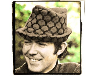 Instant Download PDF KNITTING PATTERN to make a Honeycomb Jaquard Tyrolean  Mod Style Trilby Pork Pie Hat Mens Head Sizes 22 23 24 inch d1a4d2fa877