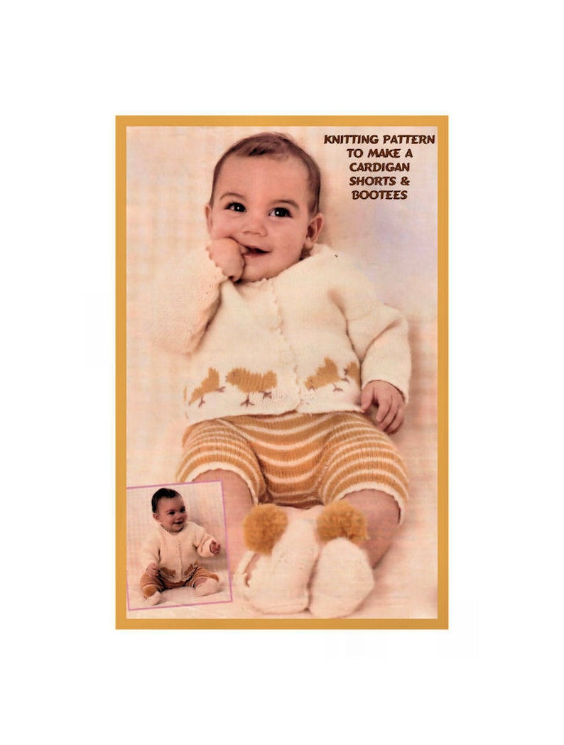 747566a71 Instant Download PDF Knitting Pattern to make a Baby Easter Chick Cardigan  Shorts Pants   Shoes 8 Ply Yarn 2 Sizes 18 to 20 inch chest