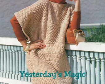 Instant Download PDF Beginners Knitting Pattern to make a Womens Patchwork Baggy Oversize Sweater Dress Chunky Yarn one size fits all