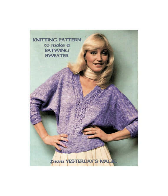 Ladies 80/'s style BAT WING JUMPER TOP KNITTING PATTERN 4 ply  34-38 inch