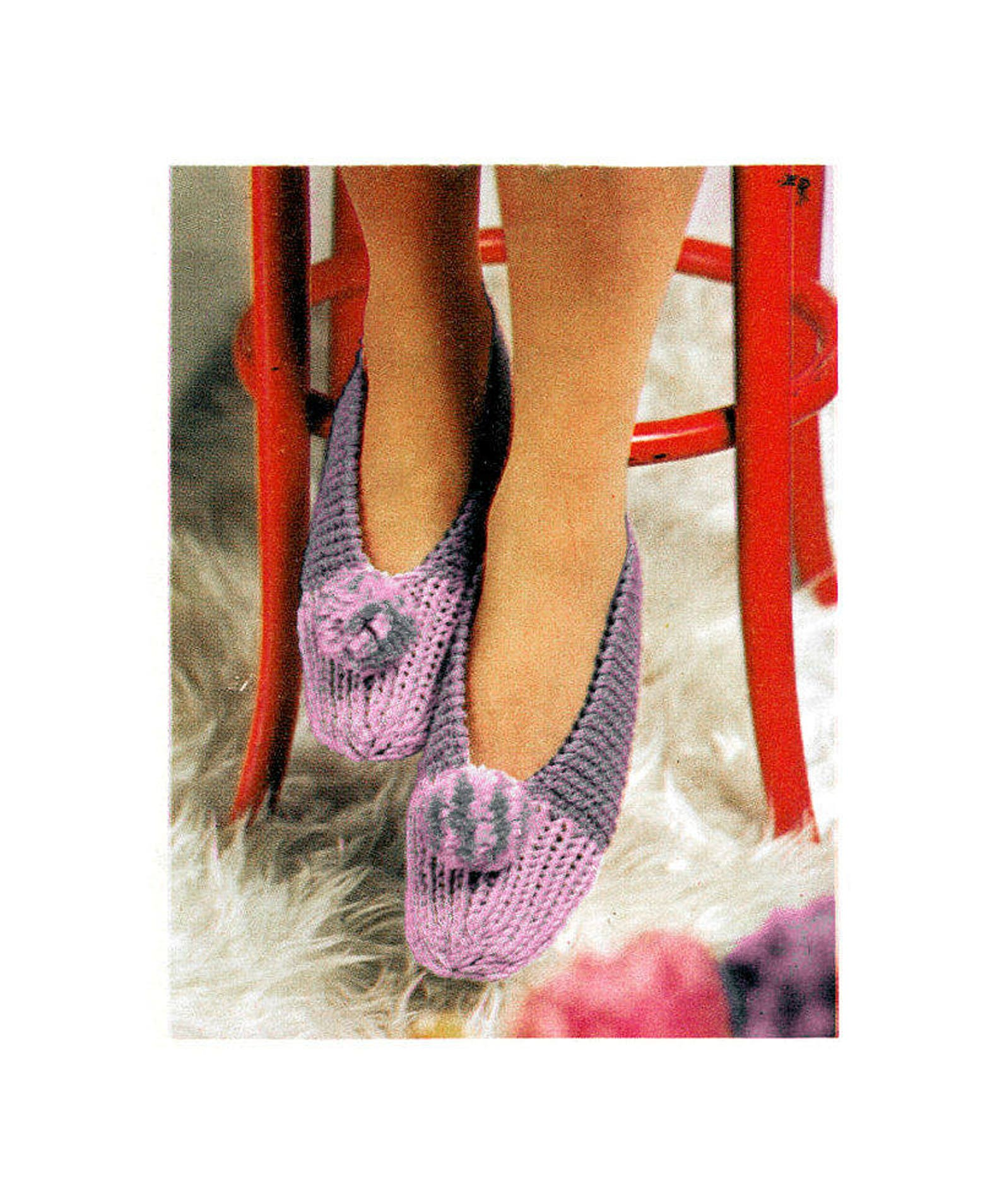 instant download pdf easy quick knitting pattern to make womens pom pom bedroom ballet slippers indoor shoes all foot sizes 10 p