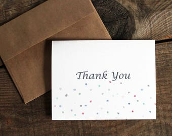 confetti polka dot thank you cards - 10 wedding thank yous thank you cards
