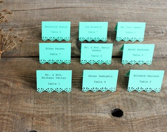 mint printed place cards for wedding, shower, party set of 100 - whimsy