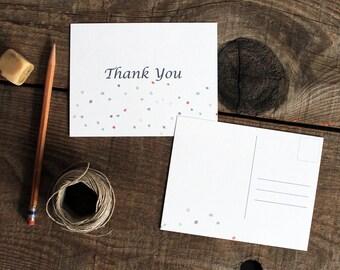 confetti polka dot thank you post cards - 10 wedding thank yous thank you cards post cards