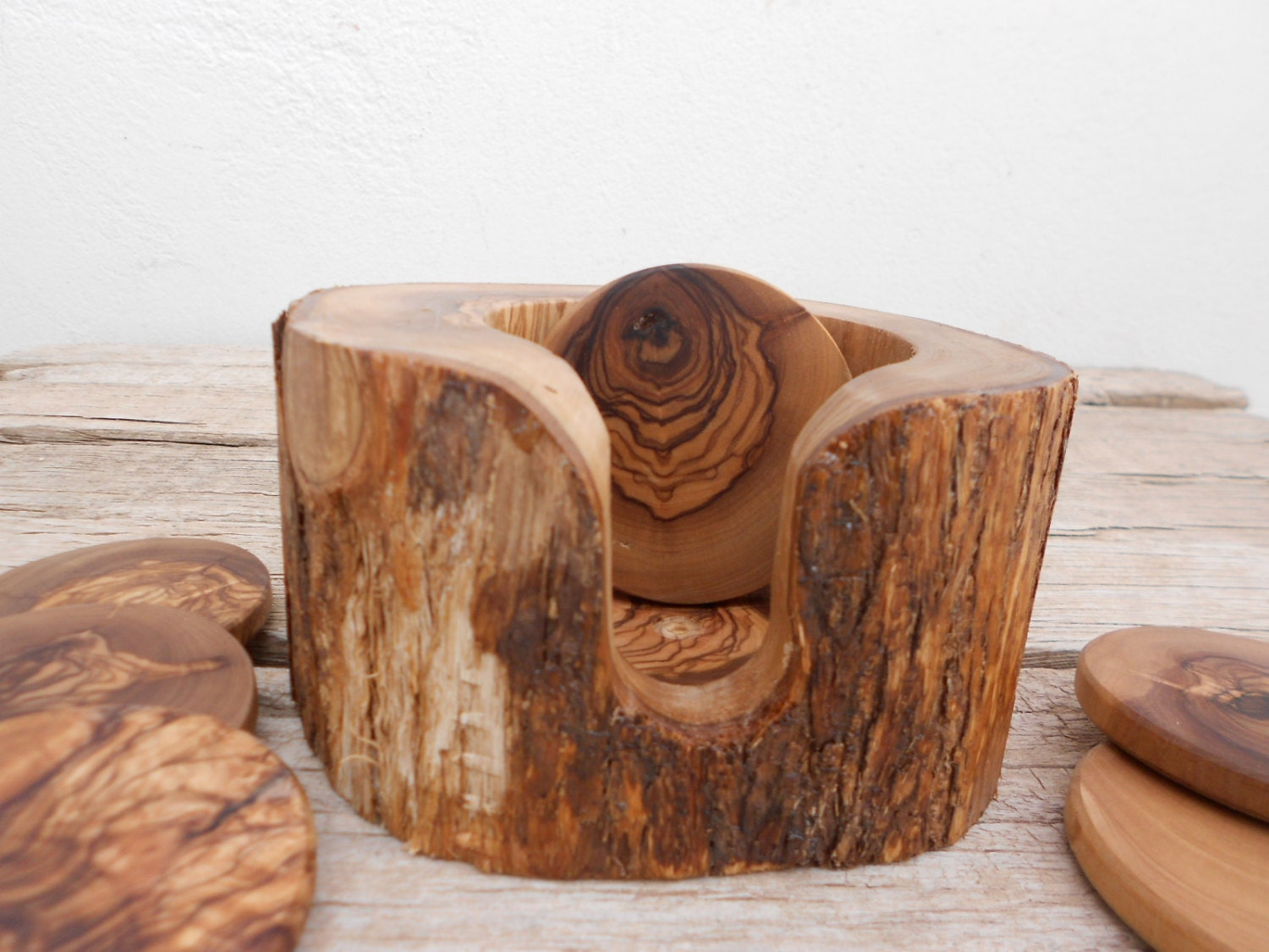 Rustic Wedding Decor gift Rustic Wooden Coaster set with ... - photo#42
