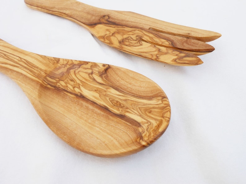 Olive Wood Cooking Salad Serving Mixing Kitchen Spoon Olive Wood Curved Spoon