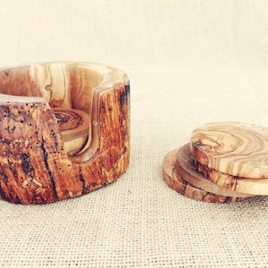 Rustic Wedding Decor gift Rustic Wooden Coaster set with Rustic Holder Natural Edges Branch Decorative Wooden Natural Coaster set