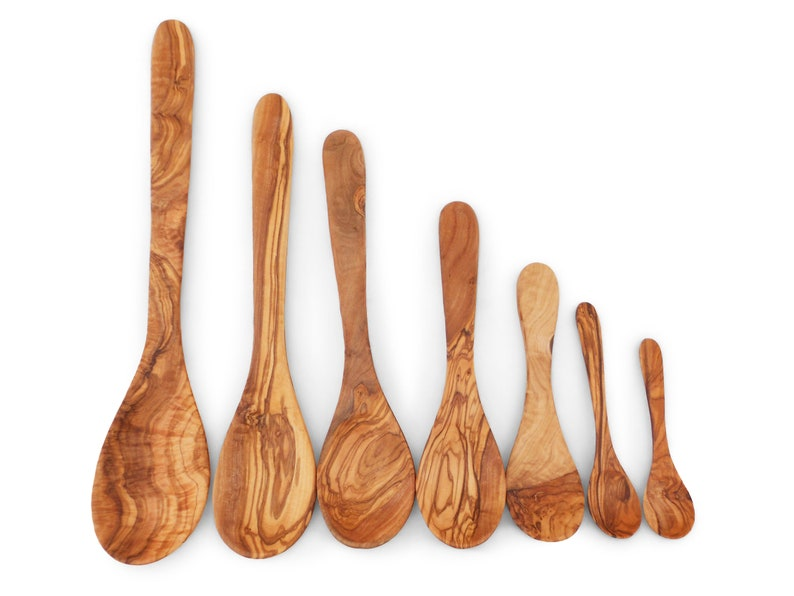 Wooden Spoon Set  Set of 7 Olive Wood Spoons  Kitchen Cooking Serving Utensils Set Tools