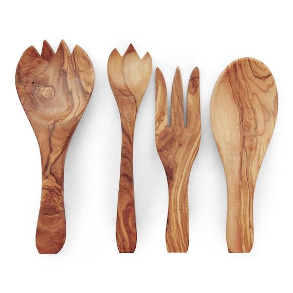 Olive Wood Cooking Serving Mixing Utensils Set Of 4 Wooden Kitchen Spoons 1 Spork 1 Fork 1 Big Spork 1 Big Spoon Mom Gift