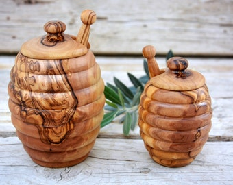 Bee Hive Shape Honey Jar, Olive Wood Honey Pot, Wooden Honey Holder Keeper Container, Wedding Gift