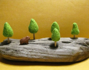 HANDMADE FLOCKED Micro Wildlife Brown Bear in Forest on Driftwood