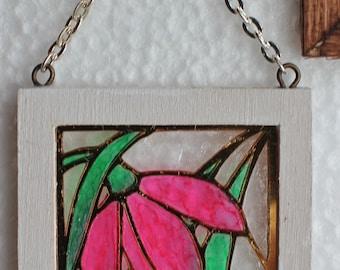 Original OOAK Mini Dollhouse Shabby Stained Glass Window Pink Flower N Woolmer