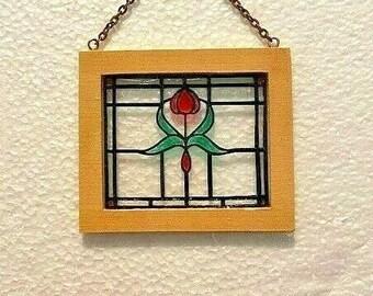 Original OOAK Mini Antique Style Victorian Stained Glass Window N Woolmer