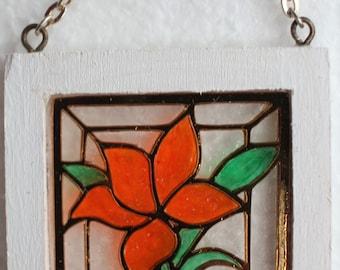 Original OOAK Mini Dollhouse Shabby Stained Glass Window Orange Lily N Woolmer