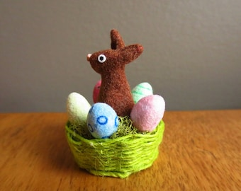Original OOAK Miniature Hand sculpted flocked & weaved Chocolate Easter Bunny basket by N Woolmer