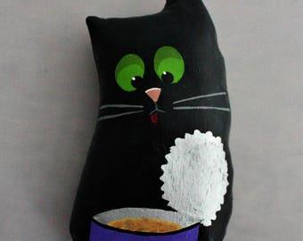 Original OOAK Hand Painted Linen Cloth Folk Art sculpture BLACK CAT & Tuna
