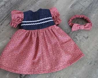 Dusty Red Floral Baby Doll Dress, 2 Piece Gift Set with Dress and Bow Headband, Short Sleeved Dress, Fits 12 to 13 inch Baby Doll