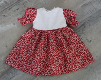Retro Red & Coral Floral Baby Doll Dress, Handmade, Cotton Doll Clothes, Fits 12 to 13 inch Baby Dolls
