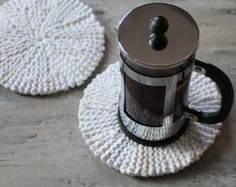 White & Cream Round Trivets (set of 2), Handmade from Upcycled Cotton T Shirts, Free US Shipping