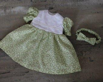 Light Green Floral Baby Doll Dress, 2 Piece Gift Set with Dress and Bow Headband, Short Sleeved Easter Dress, Fits 12 to 13 inch Baby Doll