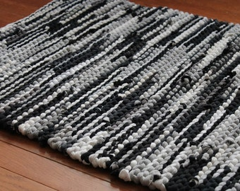 Rag Rug in Black, Silver Gray, White, Creamy Ivory, & Charcoal Grey, Retro Modern Decor, Kitchen Decor, Rectangle, 26x36, Upcycled T Shirts